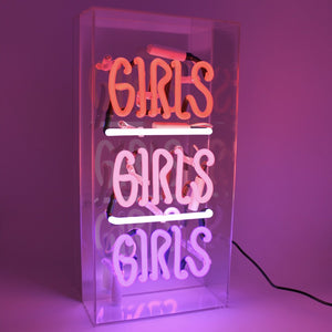 'Girls Girls Girls' Acrylic Box Neon Light