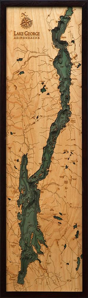 New York: Nautical Wood Map: Lake George