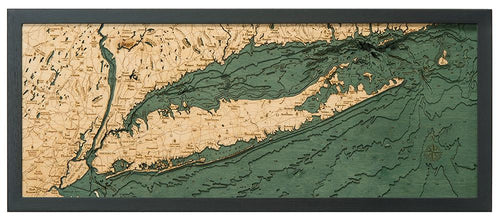 New York: Nautical Wood Maps: Long Island Sound