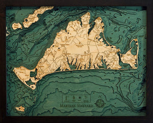 Massachusetts: Nautical Wood Map: Martha's Vineyard