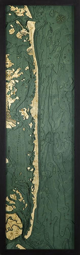 New Jersey: Nautical Wood Map: Long Beach Island