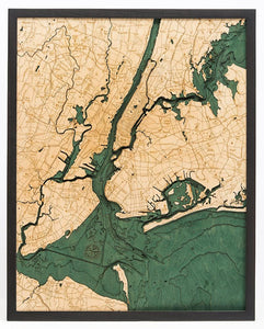 New York: Nautical Wood Map: 5 Boroughs of New York