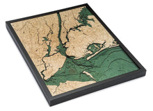Load image into Gallery viewer, New York: Nautical Wood Map: 5 Boroughs of New York