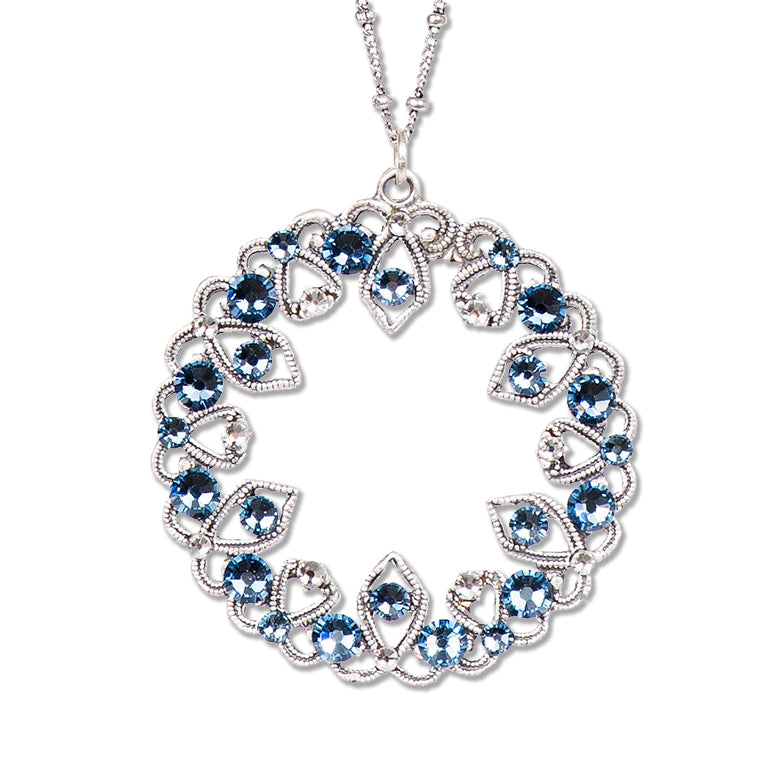 Art Deco Medallion Necklace in Ice Blue