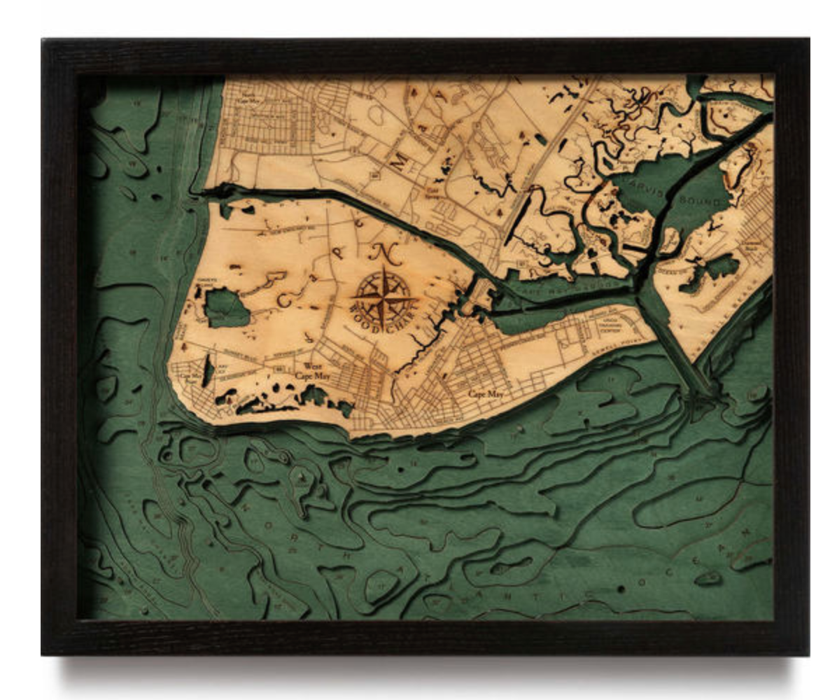 New Jersey: Nautical Wood Maps: Cape May, NJ