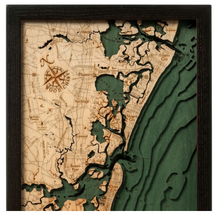 Load image into Gallery viewer, New Jersey: Nautical Wood Map: South Shore, NJ
