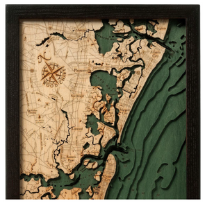 New Jersey: Nautical Wood Map: South Shore, NJ