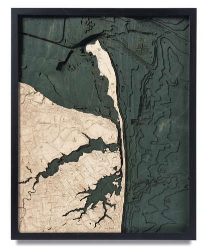 New Jersey: Nautical Wood Map: Rumson