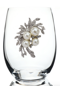 Pearl Bouquet Bedazzled Stemless Wine Glass