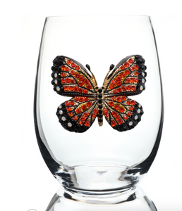 Butterfly Bedazzled Stemless Wine Glass