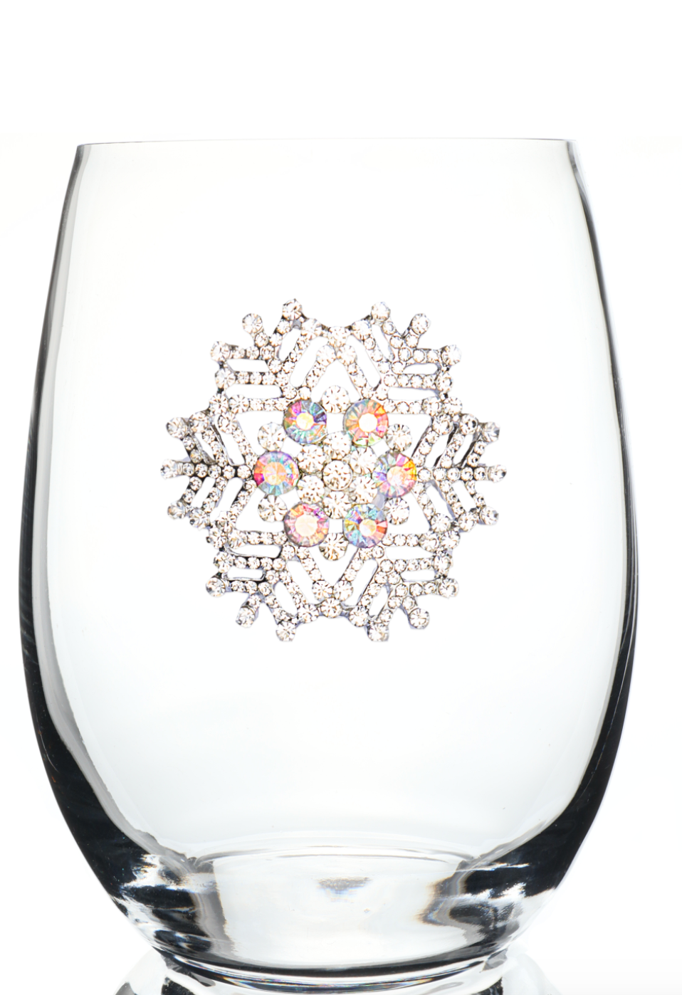 Snowflake Bedazzled Stemless Wine Glass
