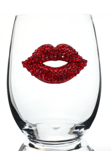 Lips Bedazzled Stemless Wine Glass