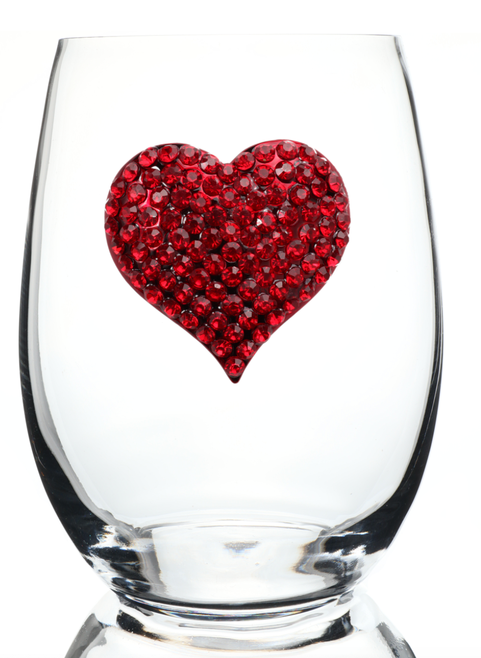 Heart Bedazzled Stemless Wine Glass
