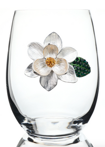Magnolia Bedazzled Stemless Wine Glass