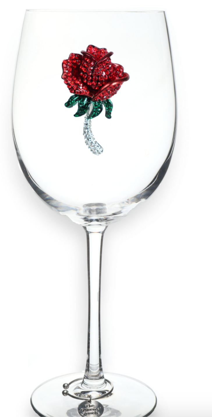 Red Rose Bedazzled Wine Glass
