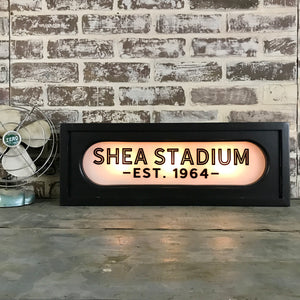 Back Lit Vintage Sign: Shea Stadium