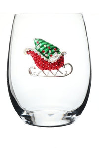Holiday Sled Bedazzled Stemless Wine Glass