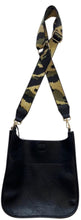 "Load image into Gallery viewer, Black Vegan Messenger w/ Studs & Camo 2"" Adjustable Strap"