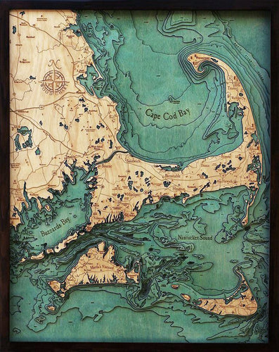Massachusetts: Nautical Wood Map: Cape Cod