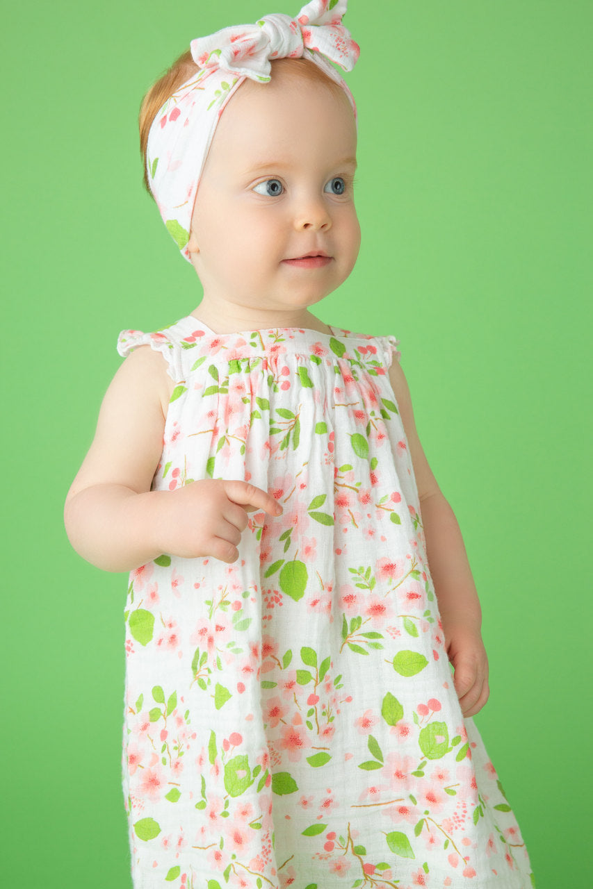 Sundress & Diaper Cover in Cherry Blossom