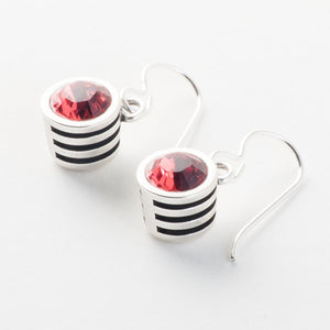 Slotted Classic Earrings in Silver- Padparadscha