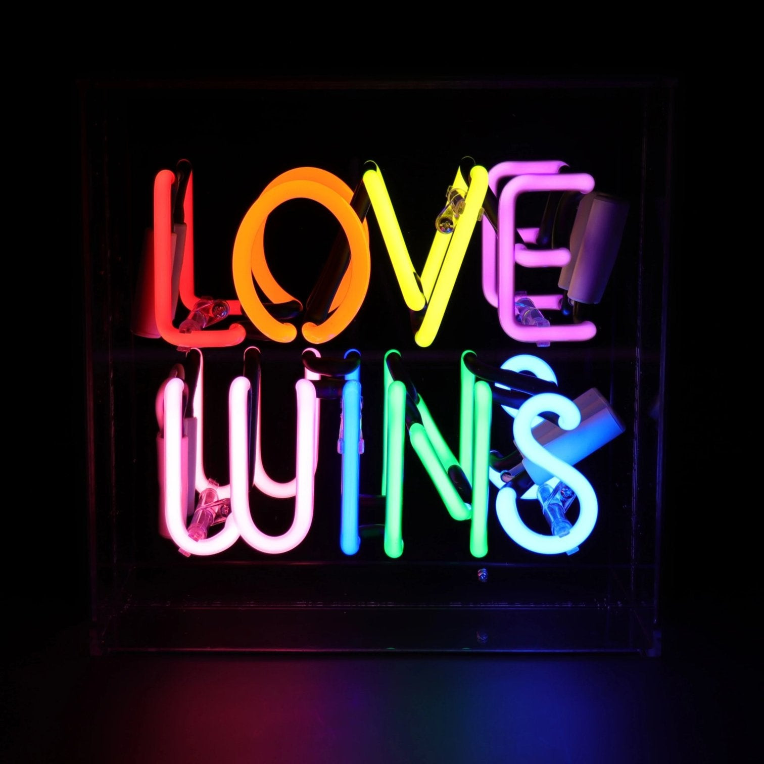 'Love Wins' Acrylic Box Neon Light