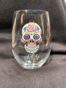 Skull Bedazzled Stemless Wine Glass