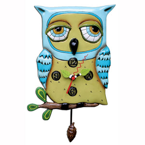 Old Blue Owl Whimsical Clock
