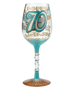 70th Birthday Wine Glass