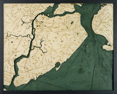 New York: Nautical Wood Map: Staten Island