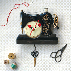 Whimsical Vintage Stitch Pendulum Clock