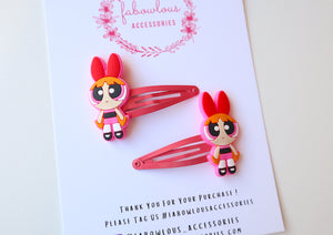 Powerpuff Girl Snap Clip Set | Blossom