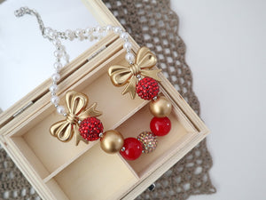 Bubblegum Bead Necklace | Red