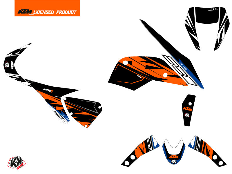 KTM Duke 690 Street Bike Spring Graphic Kit Black Orange