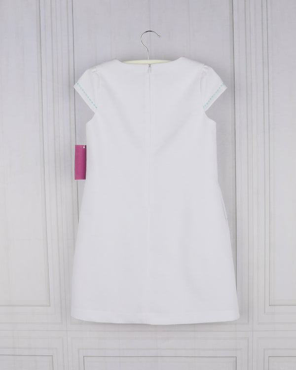 Embroidered Pique Shift Dress- White - Mumzie's Children