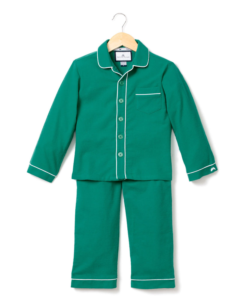 Green Flannel Pajamas with White Piping