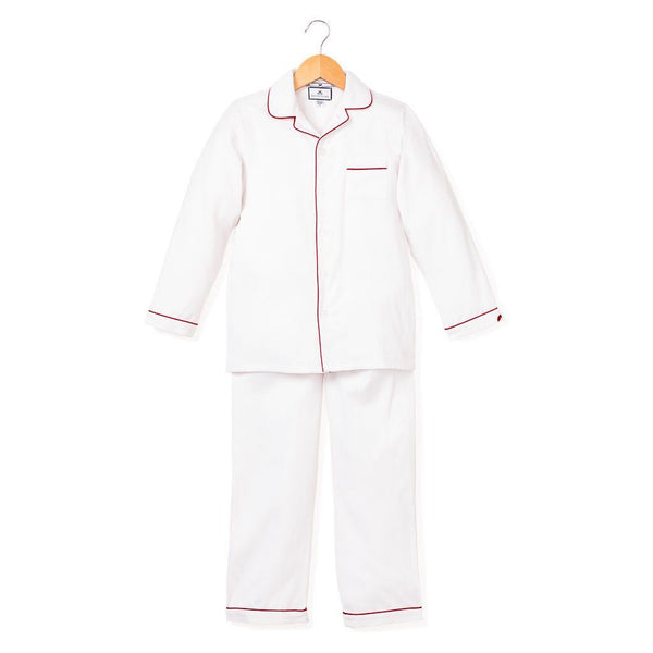 Petite Plume- Classic White Pajama's with Red Piping - Mumzie's Children