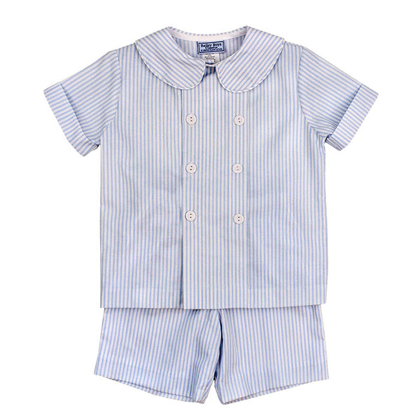Pacific Blue Stripe, Short Set - Mumzie's Children