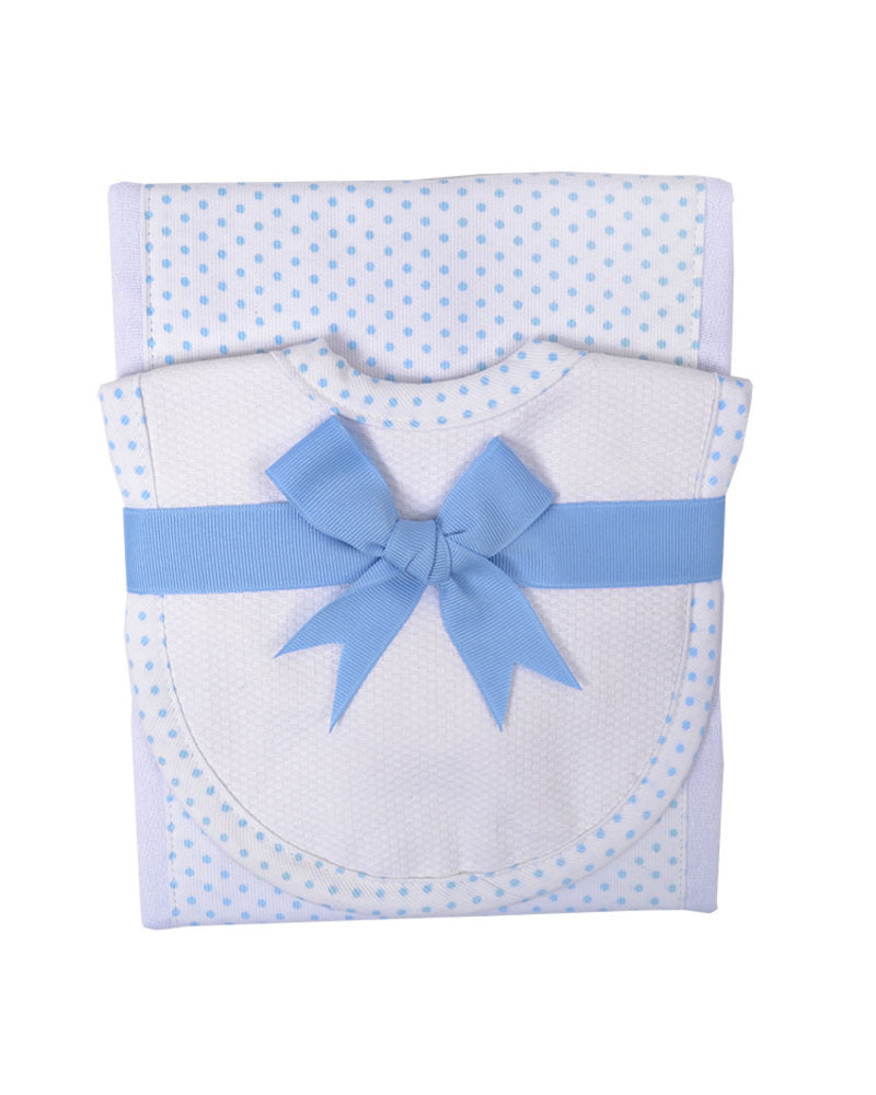 Drooler & Burp Set- Blue Polka Dot - Mumzie's Children