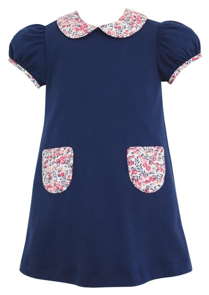 Royal Blue Knit Float Dress with Floral Collar - Mumzie's Children
