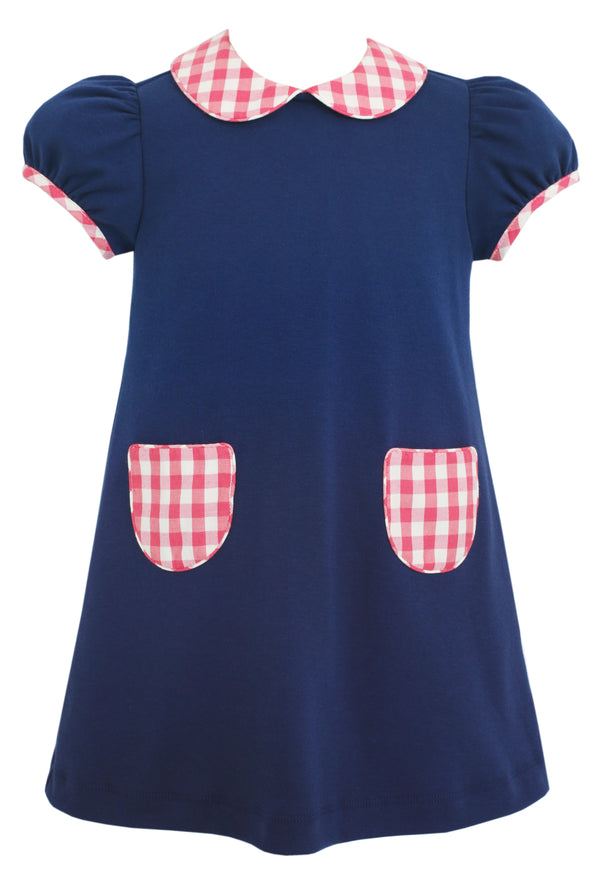 Royal Blue Float Knit Dress with Pink Plaid Collar - Mumzie's Children