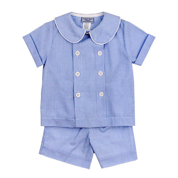 Blue Belle Check- Dressy Short Set - Mumzie's Children