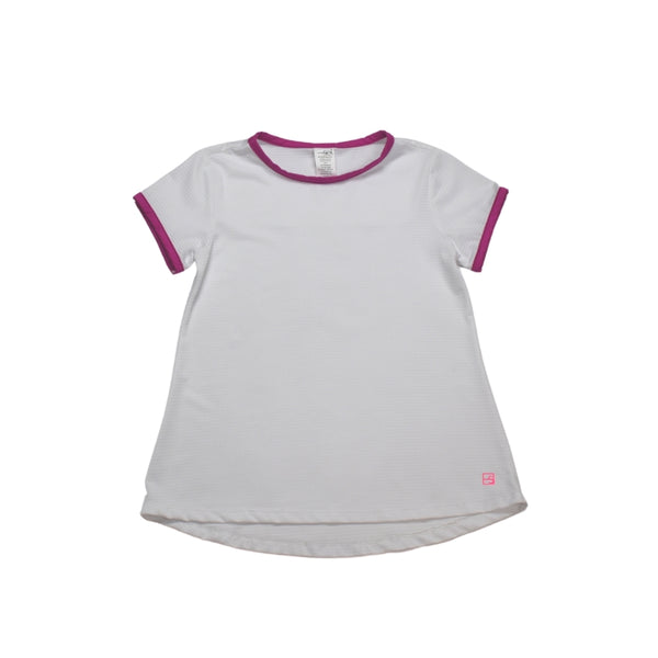 Bridget Basic Tee- White w/ Hot Pink Welting - Mumzie's Children