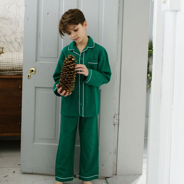 Petite Plume-Green Flannel Pajamas with White Piping - Mumzie's Children