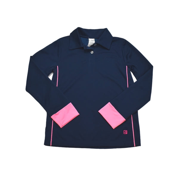 Gabby Golf Shirt Long- Navy & Pink - Mumzie's Children