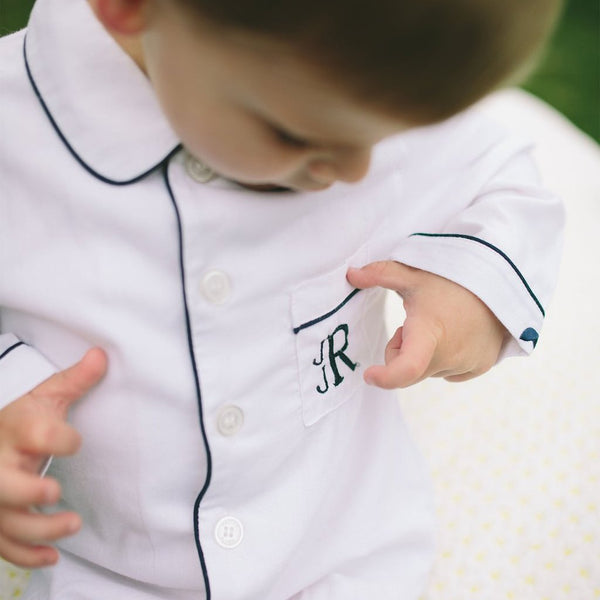 Petite Plume- Classic White with Navy Piping Pajamas - Mumzie's Children