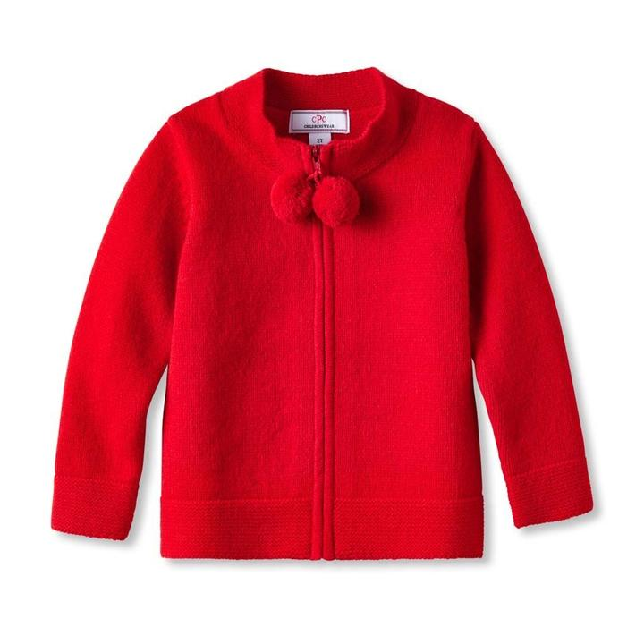 Pippa Pom Pom Sweater- Red - Mumzie's Children