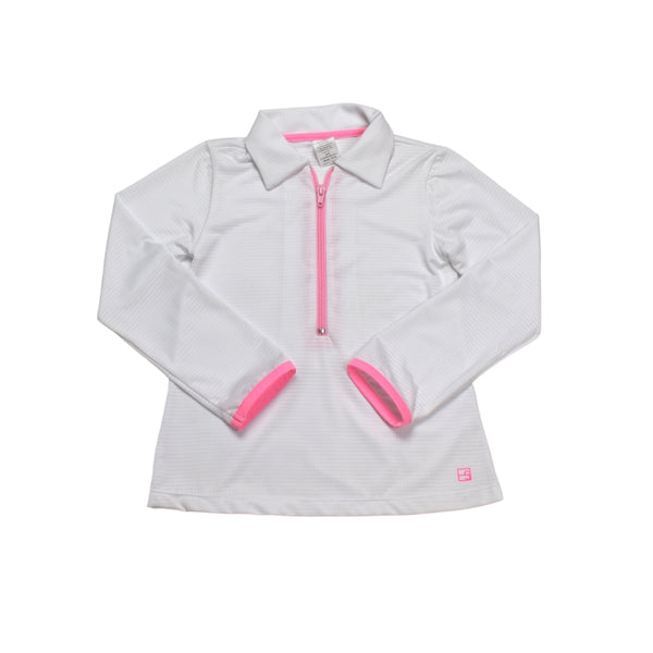 Heather Half Zip Pullover- White w/ Pink Zipper & Piping - Mumzie's Children