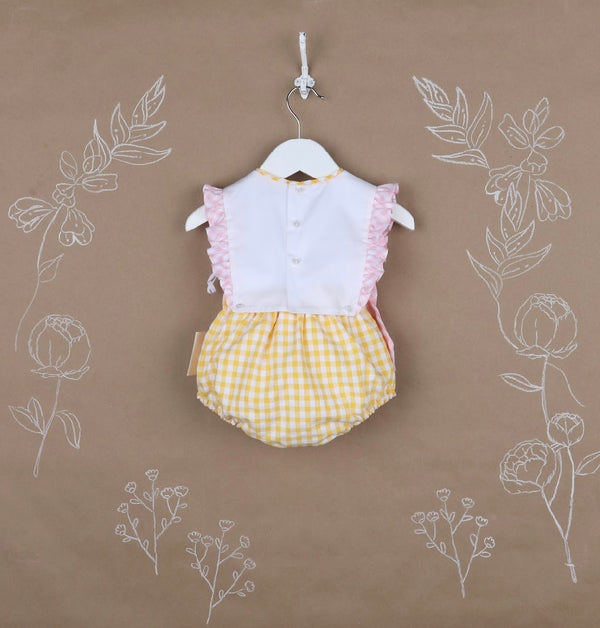 Sunny Gingham Girl Overall- Yellow