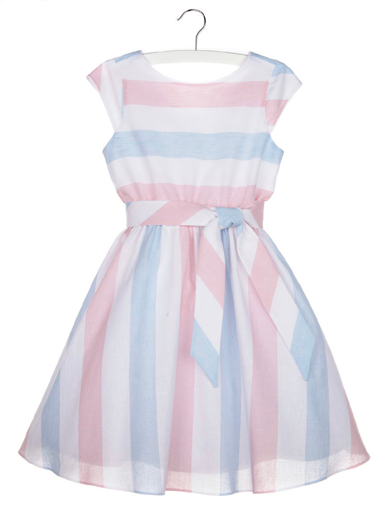 Striped Linen Swing Dress- Pink - Mumzie's Children